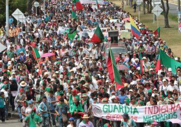 Inicia movilización indígena en Popayán para exigir libertad de Feliciano Valencia