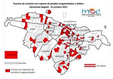 Denuncian cerca de 130 irregularidades en elecciones en Bogotá
