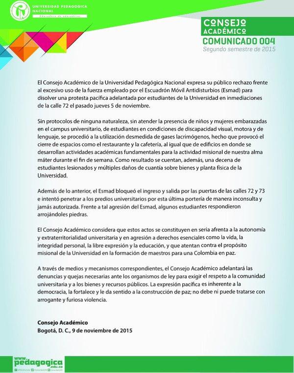 comunicado consejo académico UPN