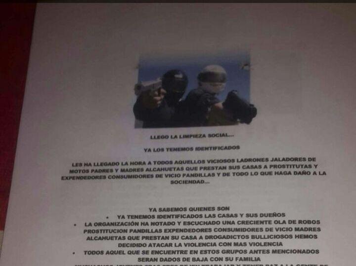 "Panfleto amenazante anuncia ""limpieza social"" en Turbo, Antioquia"