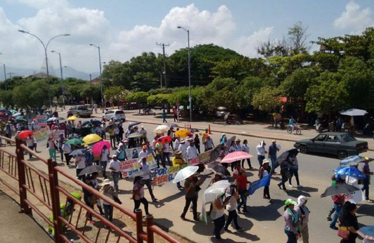 En medio de fuerte militarización avanza el paro nacional en el Sur de Bolívar
