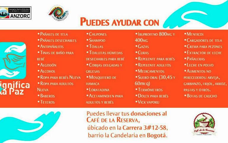 Inicia campaña de donaciones para guerrilleros de las Zonas Veredales