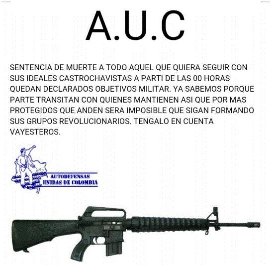 Imágen de la amenaza a Huber Ballesteros publicada por Marcha Patriótica