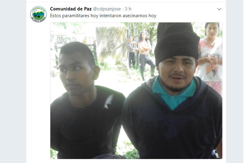 Tweet: Comunidad de Paz @cdpsanjose