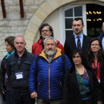 Sindicalistas participes en el Palacio de Arnaga, en Kanbo