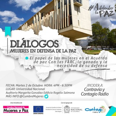 Las mujeres hablarán del Acuerdo de Paz el próximo 2 de octubre en la Universidad Nacional