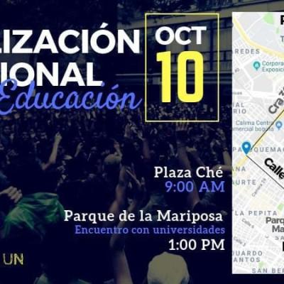 Conozca las rutas de la marcha estudiantil para este 10 de octubre