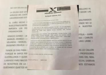 Águilas Negras amenazan a promotores del Paro Nacional