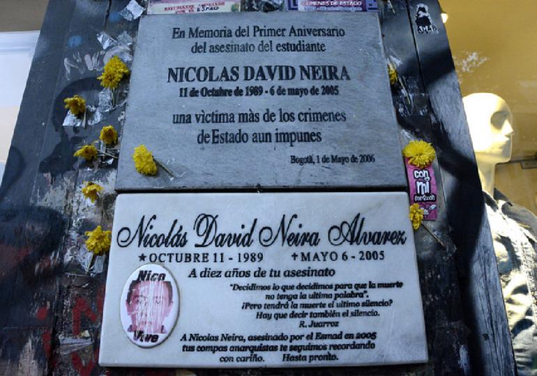 Desapareció placa conmemorativa de Nicolas Neira a 15 años de su asesinato