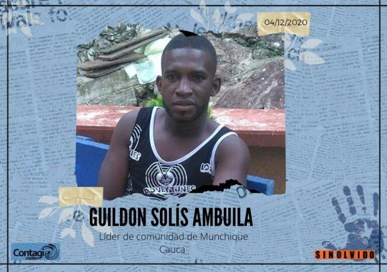 Es asesinado Guildon Solís, líder afro del Cauca