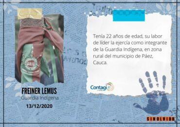 Freiner Lemus, miembro de la Guardia Indígena fue asesinado en Cauca