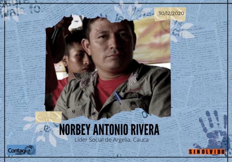 Asesinan a Norbey Antonio Rivera, líder social en Argelia Cauca