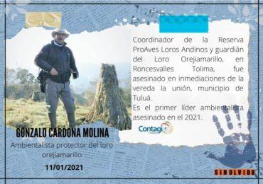 Asesinan a lider ambientalista Gonzalo Cardona Molina