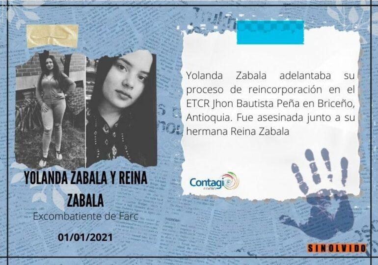 Excombatiente Yolanda Zabala Asesinada junto a su hermana Reina Zabala