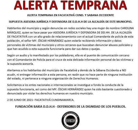 Alerta: En Facatativá mujer se identifica como DDHH y entrega información a Policía